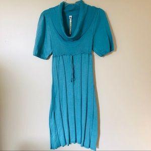 ANTHROPOLOGIE   UNCLE FRANK Blue cowl-neck dress